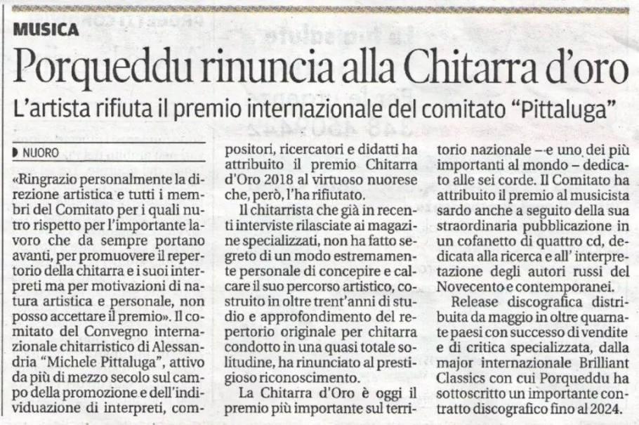 Cristiano Porqueddu, il nostro direttore artistico, rinuncia al Premio Chitarra d'Oro.
